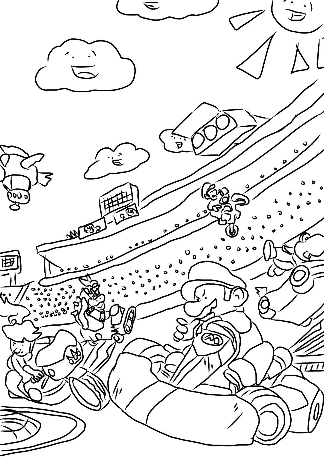 Coloriage Mario Kart 13 Jeux Videos Coloriages A Imprimer