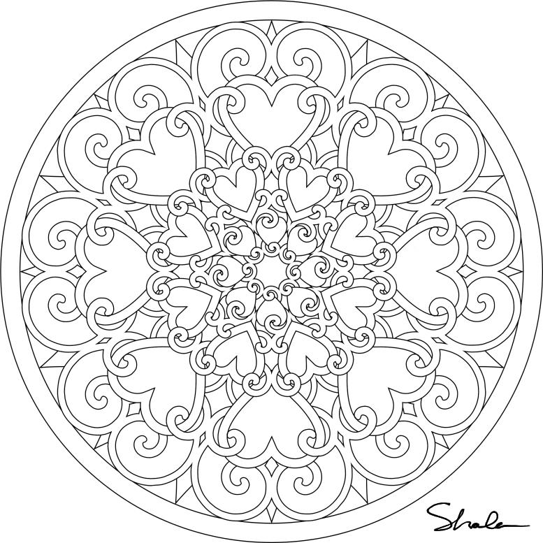 Coloriage Mandalas Coeur #116681 (Mandalas) - Album de ...