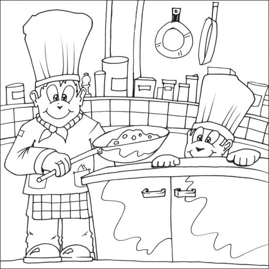 Coloriage Cuisinier / Cuisinière #91791 (Métiers et ...
