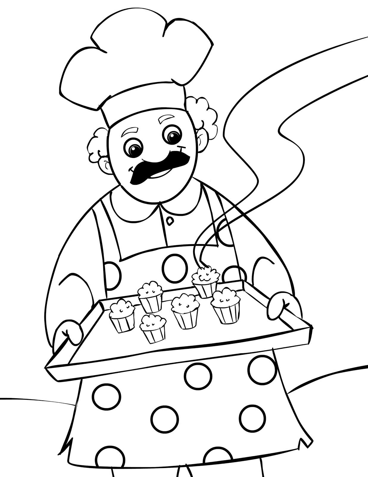 Coloriage Cuisinier / Cuisinière #57 (Métiers et ...