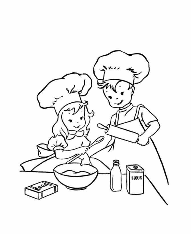Coloriage Cuisinier / Cuisinière #92074 (Métiers et ...