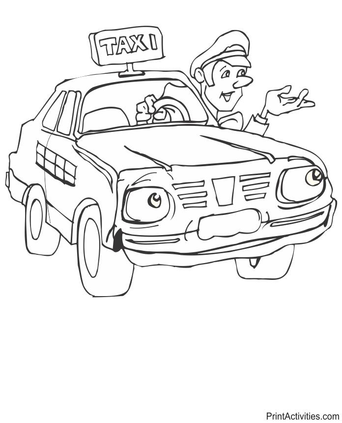 Coloriage Taxi #27 (Transport) - Coloriages à imprimer